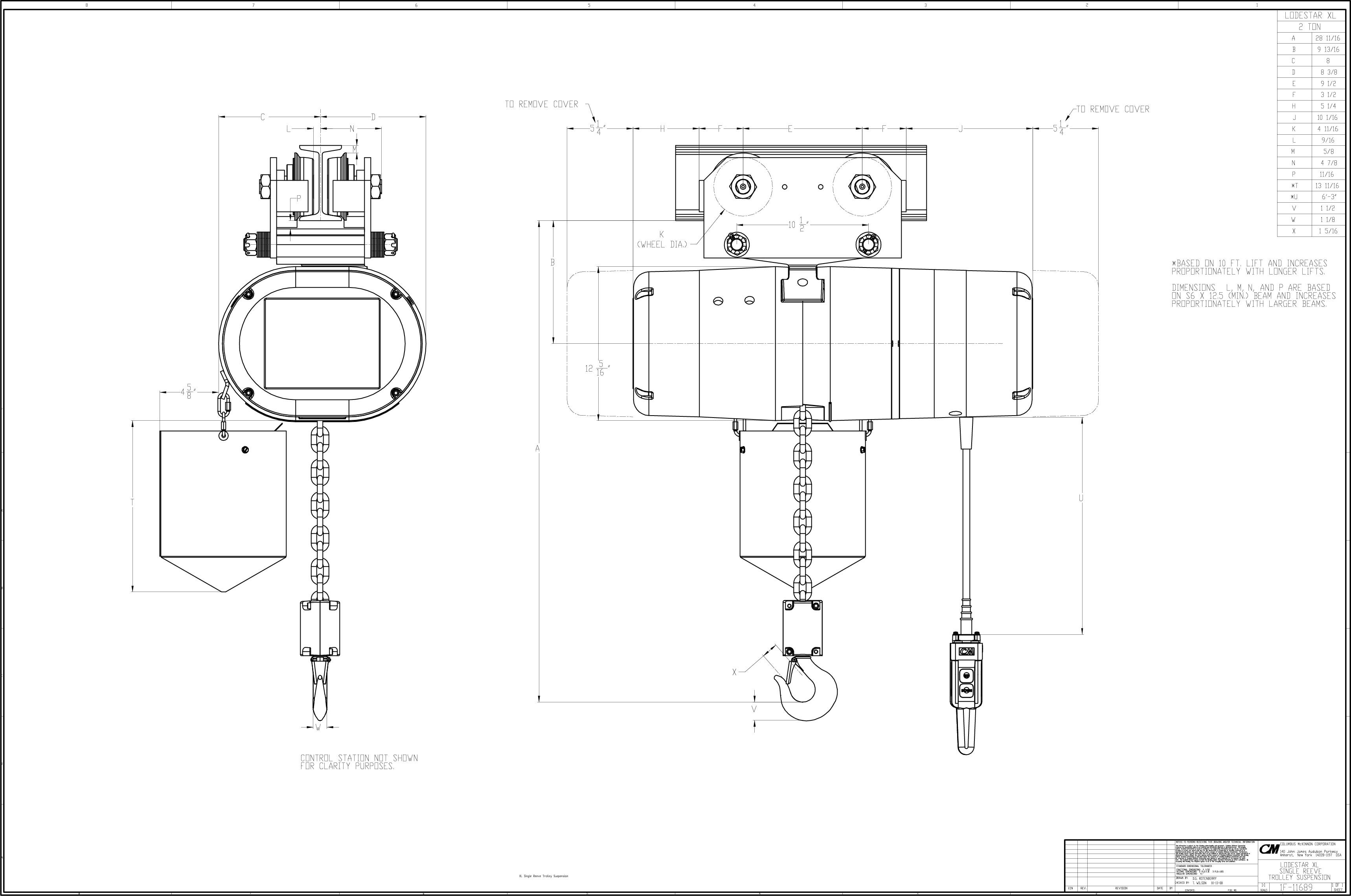 product code 5265p  cm lodestar xl electric chain hoist  230  460