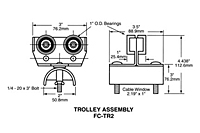 Product Image Short Intermediate Trolley Assembly, 14 Gauge C-Track Installation