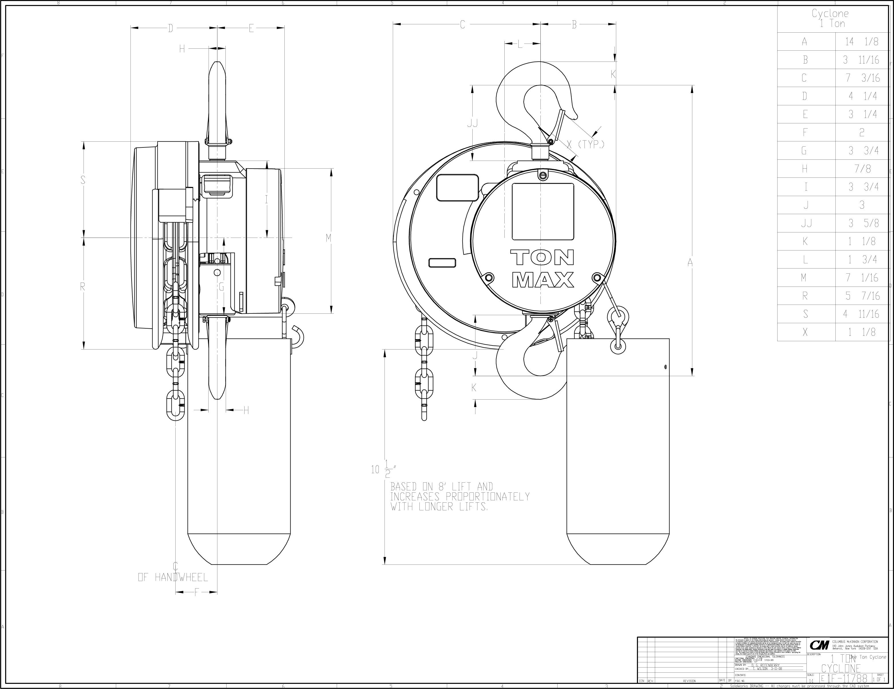 product code 4624  cm cyclone hand chain hoist on american