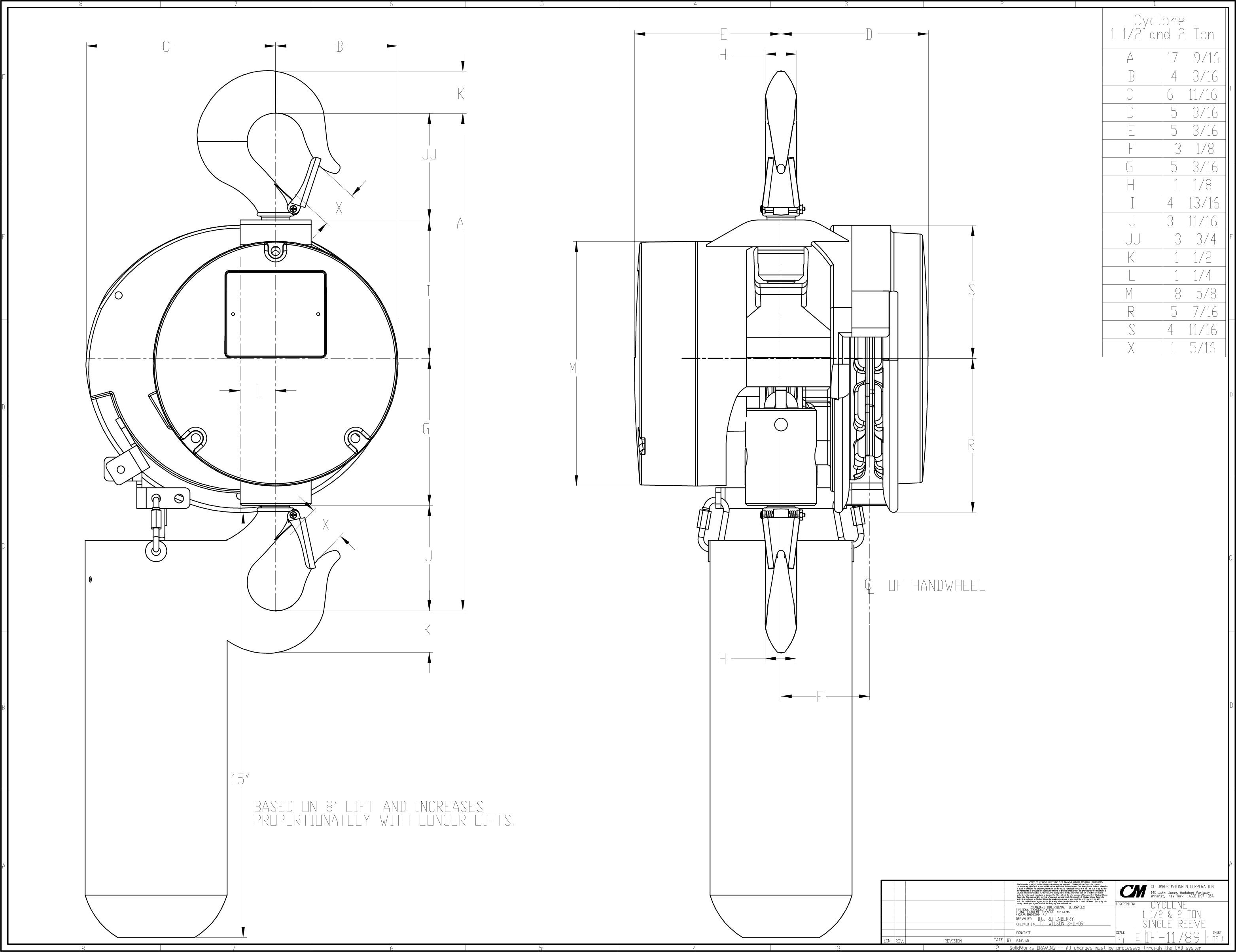 product code 4626  cm cyclone hand chain hoist on american