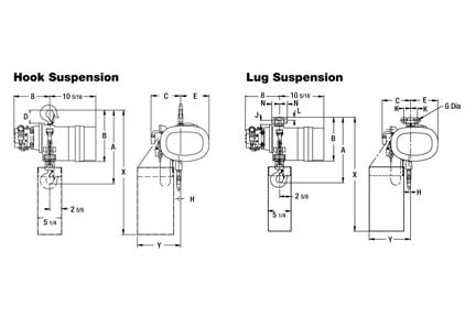 Product Code 911645, Yale Model KALC Air Hoists, Hook Suspension On