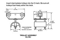 Drawing Standard Duty Intermediate Trolley-Saddle Assemblies, 14 Gauge C-Track Installation