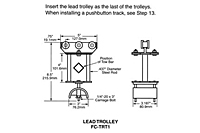 Drawing Tow Trolley and Saddle Assembly, 14 Gauge C-Track Installation